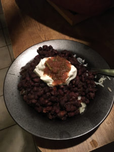 vegan black beans from a clay cooker
